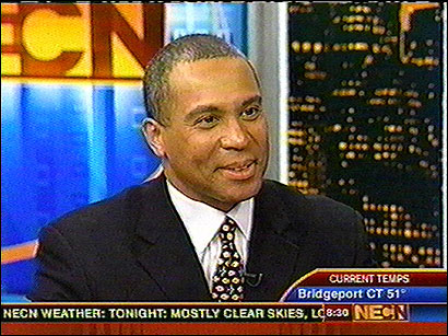 Deval Patrick, a Democratic candidate for governor, discussed what it was like to move from the South Side of Chicago to Milton Academy as a youth, biracial identity, and his multi-million-dollar vacation home in the Berkshires.