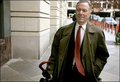 I. Lewis Libby, former chief of staff for Vice President Dick Cheney, arrived at the federal courthouse in Washington, D.C., on Feb. 3. According to court papers, Libby said he believed he received authorization from President Bush to leak intelligence on Iraq.