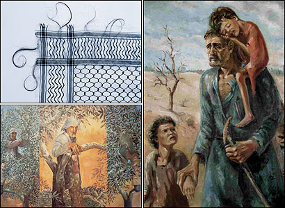 Clockwise from top left: Mona Hatoum, 'Keffieh' (1993-1999); Ismail Shammout, 'Whereto?' (1953); Sliman Mansour, 'Olive-Picking Triptych' (1989)