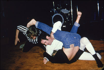 Inter-Gender Wrestling Champion (and comedian) Andy Kaufman pins his opponent to the mat at the Comedy Store in Los Angeles, in December 1979.
