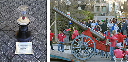 A domed miniature replica of a Caltech cannon was left behind at the MIT campus after the real thing (right) was taken back last week.