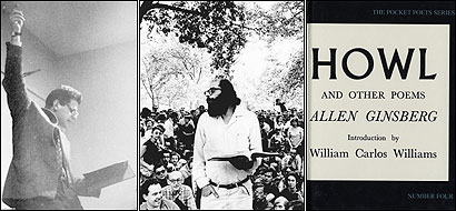 Allen Ginsberg, above left, reading in San Francisco on Nov. 20, 1955, and above center, in New York City's Washington Square Park on Aug. 28, 1966. At right, the City Lights Pocket Poets edition of 'Howl and Other Poems.'