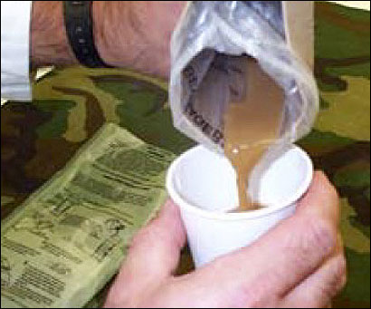 Soldiers can warm coffee or tea in a special, extra-thick bag.