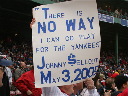 This fan also remember's Damon's statement about the Yankees last May.