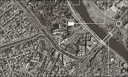 A satellite image of Hilla, Iraq, overlaid with information from Army engineers. Images such as these have provided tactical intelligence to soldiers on the ground.