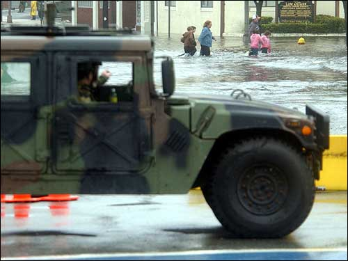 humvee and flooded streets