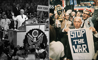 A USABLE PAST? In 1948 (left), Harry Truman won the Democratic presidential nomination as a liberal internationalist. In 1968 the Democrats, divided over Vietnam, emerged with a deep wariness of US intervention abroad.