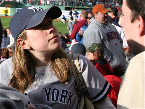 Kate Wardrop grew up a Yankees fan in Glen Rock, N.J., but lives in Boston now. She thinks the fans are nicer in the Bronx and claims the Fenway Faithful yell at her all the time for wearing the New York jersey.