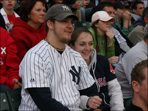 Jeff Biesadecki from Seymour, Conn., and Sarah Fraine, from Bellingham, say they get the same treatment from fans of the opposite team in Boston as they do at Yankee Stadium. The couple also doesn't believe the Yankees and Red Sox play each other too much during the season.