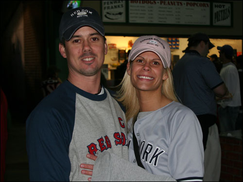 Brian Smith and Jaime MacDonald, from West Springfield, are members of the opposite team. Jaime, whose parents are Yankee fans, said she gets snarled at by Sox fans at Fenway. Brian would like to see more Red Sox-Yankee matchups and thinks Sox fans should appreciate what Johnny Damon did in Boston.