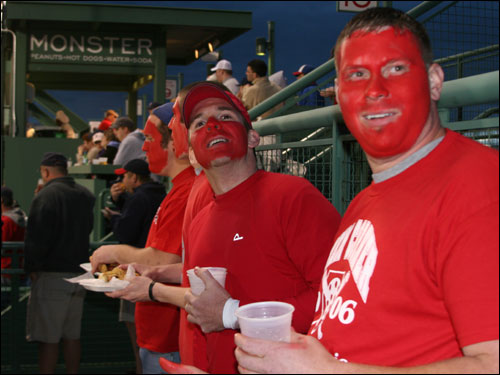 The K-men, a group of fans who paint their faces red and hang K cards when a Sox pitcher records a strikeout, were out in full force on the top of the wall that leads to the Monster seats.