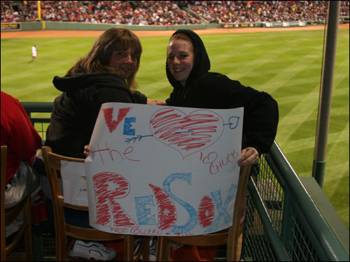 Kingston, N.H.'s Colleen Buzzell and her daughter Jill bid on the 'nest' seats they were sitting in on the Red Sox web site. Colleen doesn't think there's been too much Red Sox-Yankees this season and she booed Johnny Damon because it was his choice to go to New York.