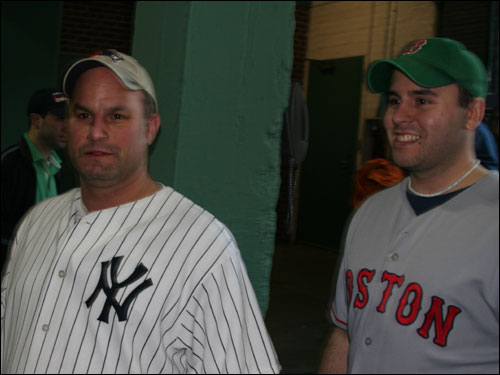 Coventry, R.I.'s Matt Joubert said his father was a Yankees fan, so he's a Yankees fan while his old friend Steven Serpa came from a family of Red Sox fans in Coventry. They bought their not-so-cheap tickets to the game on eBay.