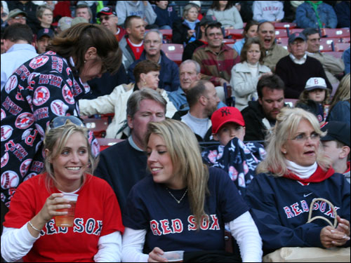 Kim Stolper (left) said she still boos Johnny Damon while her friend Alana Connolly and her mother, Kathy Stolper, said they still cheer Johnny Damon for what he did for Boston. All three Norwell women thought the Red Sox would top the Yankees for the AL East division title this year.