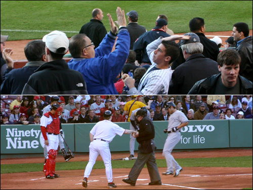 Yankees fans celebrated early at Fenway when Johnny Damon led off the game for New York with a home run off Tim Wakefield. A Red Sox fan responded by throwing Damon's ball back onto the field after he caught it.
