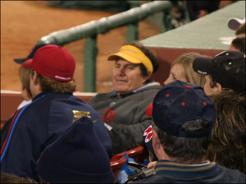 Patriots head coach Bill Belichick relaxed in some prime real estate at Fenway as the Red Sox started to rally against the Yankees in the seventh inning. Quarterback Tom Brady was also spotted in this section earlier in the game.
