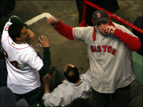 The kazoo guy tried to rally the troops in the bleachers in the seventh inning. It worked as the Sox scored three times to close to within three runs of New York, but still lost, 7-5.