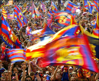 Barcelona fans are crazy about a team with a Dutch coach, stars from Brazil and France, Cameroon and Sweden, and, this month, the Chapions League Crown.