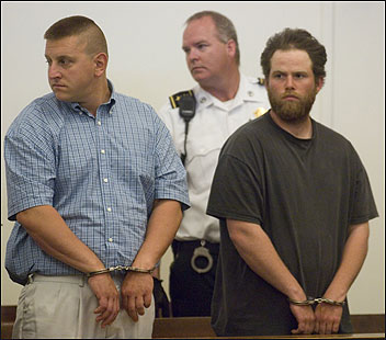 Keith B. Kynock (left) and Todd A. Soderberg were arraigned in Barnstable District Court in the killings of two pit bulls.