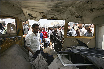 Palestinians say two militants and eight civilians were killed yesterday when an Israeli missile hit a van in Gaza City.