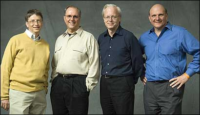 From left: Microsoft Corp. chairman Bill Gates, chief research and strategy officer Craig Mundie, chief software architect Ray Ozzie, and chief executive officer Steve Ballmer.
