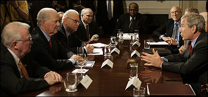 President Bush spoke at a meeting of the Iraq Study Group at the White House. Under a proposal by Democrats, a small contingent of US troops would be kept in Iraq to train local forces so they can take control of their own country.