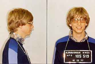 A very young Bill Gates seems unphased in this mug shot taken by the Albuquerque, N.M., police. On December 13, 1977, Gates was briefly jailed for racing his Porsche 911 in the desert.