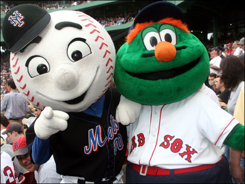 In the spirit of Pedro's return to Boston, Wally the Green Monster and Mr. Met are now new best friends. Their common bond is their hatred of the Yankees. Before the game, fans were able to see video highlights of Wally taking Mr. Met on a tour of Boston landmarks.