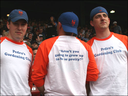 (From left) Nick Ryan, Jeff Garlewicz, and Dan Barbossa, all from Hoboken, NJ, made these shirts to celebrate Pedro's prowess in the garden. In a New York Times article in May, Pedro was quoted talking to his tulips: 'What about you, beauty?' Pedro asked. 'Aren't you going to grow up to be so pretty?'
