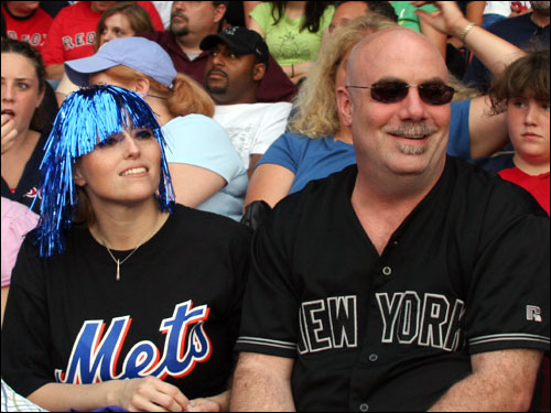 Mets fans Lucy Miller and Tom Mosher drove to Boston from Albany, NY, to take in their first game at Fenway. Their impression? 'It's small.'