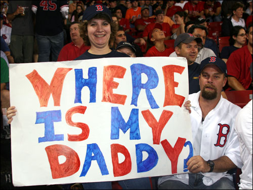 Darlene and Rick Lima from Westerly, RI, made a sign to rattle the Mets ace. Pedro had hit the shower before a 'Who's Your Daddy?' chant had a chance to spread across Fenway.