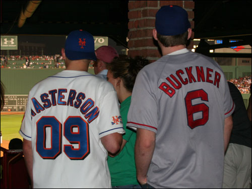 Mets fan Ryan Masterson, originally from Long Island, NY, and now living in Boston, broke out his Bill Buckner jersey in an attempt to spook Red Sox fans. His friend Wayne Hopkins went with the more traditional Ryan Masterson Mets jersey.