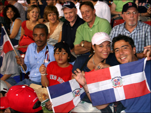 (From left) Cesar Vicioso, Jose Cedeno, Belkis de Cedeno, and Luis Cedeno all flew to Boston from the Dominican Republic to see Fenway for the first time and cheer on their hero Pedro Martinez, who they hoped would have lasted a bit longer.
