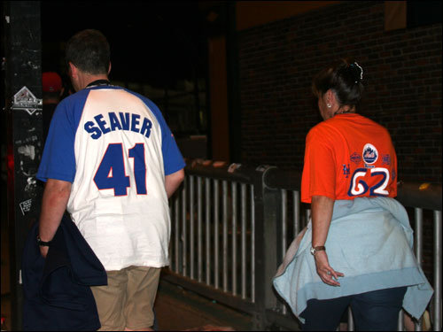 Disappointed Mets fans filed out of Fenway after a second straight pounding by the Red Sox. They hope to salvage a game tonight when Tom Glavine squares off against Sox ace Curt Schilling.