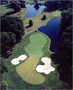 A bird's-eye view of the 13th hole at the Stanwich Club in Greenwich, Conn.