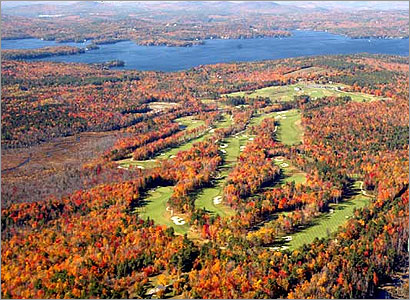The Baker Hill Golf Club in Newbury, N.H., is nestled lakeside amidst brilliant foliage.