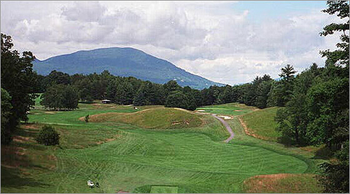 The Ekwanok Country Club in Manchester, Vt., is home to the famous 595-yard seventh hole, shown here. When the 18-hole course opened in 1900, it was the first American course that held a light to the famous courses in the United Kingdom.