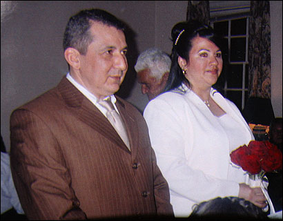 Milena Del Valle, with Angel at their wedding, was killed when the tunnel's ceiling fell.