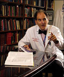 fright club Dr. Martin Samuels studies 'acute life-threatening stress.' He says, 'They call me the death doctor.'