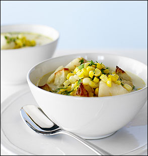 CORNY ENOUGH? Simmered corncobs form the base for this chowder made with corn kernels, cod, and roasted potatoes.
