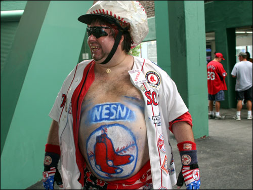 New England sports superfan Mike Schuster was in the house hoping to rally the Red Sox to a win in the final game.