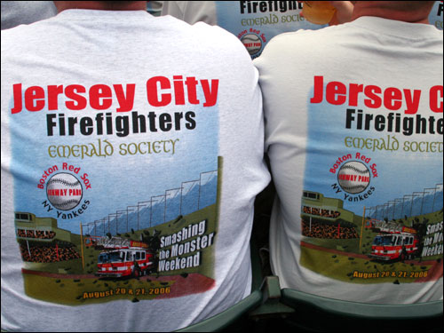 The Yankees had the firefighters covered too as a large contingent came in from Jersey City for a 'Smashing the Monster' weekend.