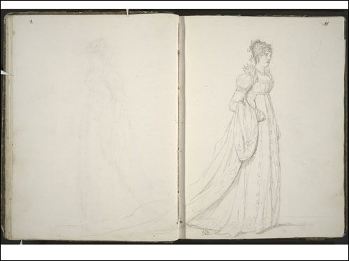 "Jacques-Louis David, Pauline Bonaparte, the Princess Borghese (Sketchbook No. 14: Studies for ""The Coronation of Napoleon I,"" pages 10 verso and 11 recto), 1805-06."