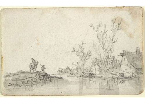 Jan Josefsz van Goyen, Landscape with Cottages and Figures, c. 1650.