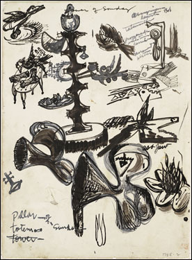 "David Smith, Studies for ""Pillar of Sunday"" (Sketchbook page), 1945."