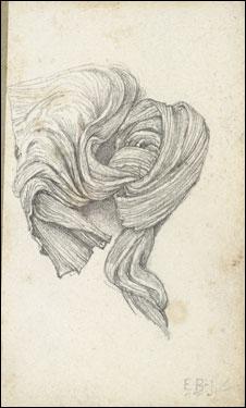 Edward Burne-Jones, Drapery Study (Sketchbook, page 9), 1870s-80s.