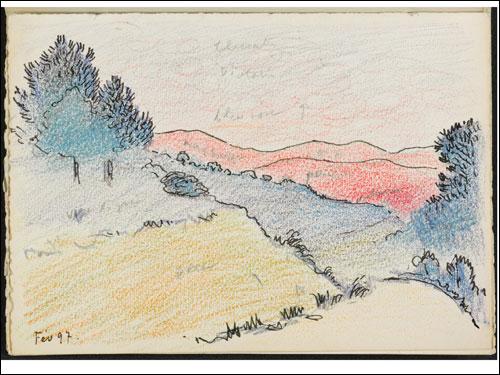Henri-Edmond Cross, Hilly Landscape with Pines (Unbound Sketchbook, page 7), c. 1897