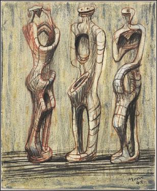 Henry Moore, Three Standing Figures (Sketchbook page), 1948.