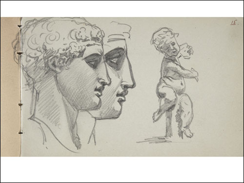 "John Singer Sargent, Studies of an Antique Head (The Diadumenos); Study of a Putto (Sketchbook ""1871"": Travel Sketches and Copies after Artwork, page 15), 1871."