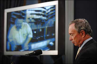 New York City Mayor Michael Bloomberg presents video clips from the city's sting operation against 15 out-of-state gun dealers in May.